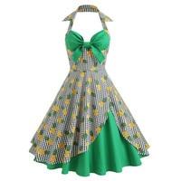 Pineapple Print Vintage Halter Hawaiian Dress Summer Women Plaid Retro Party Retro Vestidos Sexy Pin Up Girls 1950s 60s Dresses