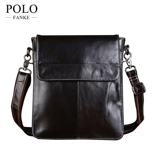 2017 New Oil Wax Genuine Leather Bag Men Simple Designer Handbags High Quality Crossbody S
