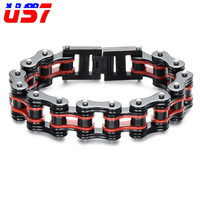 US7 Double Layer Men S Punk Biker Bicycle Motorcycle Chain Link Boy Bracelets Stainless Steel Cool
