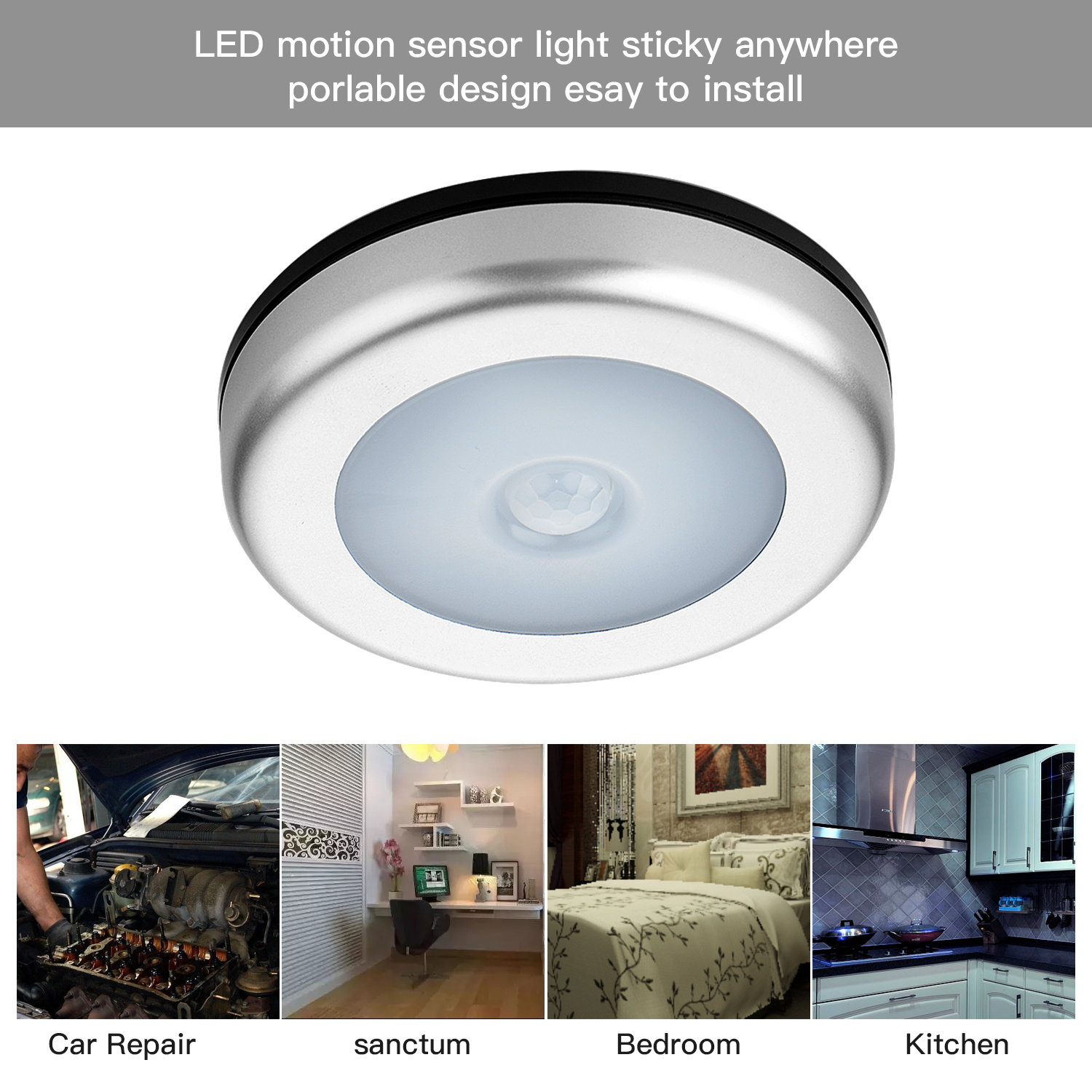 6 LED PIR Body Motion Sensor Activated Wall Light Night Light Induction Lamp For Closet  ...