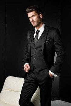 New Design One Button black Groom Tuxedos Peak Lapel Groomsmen Best Man Mens Wedding Suit (Jacket+Pants+Vest+Tie) W:286