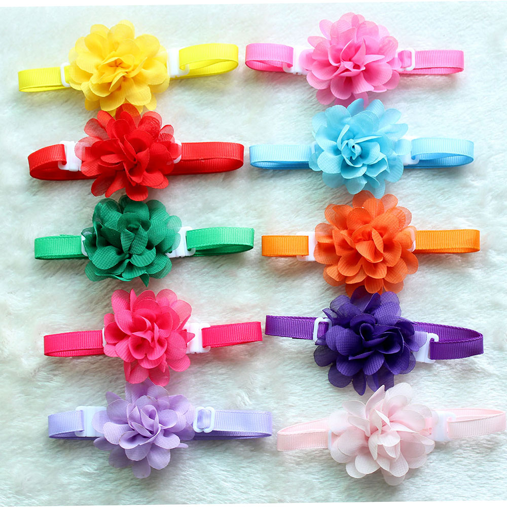 50pcs Dog Pet Bow Tie Chiffon Flowers Dog Necktie Adjustable Pet BowtiesCollar Dog Accessories Grooming Products For Small Dogs