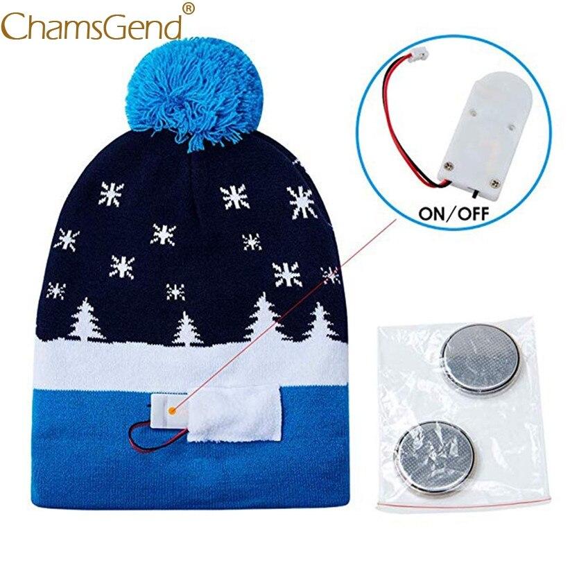 d0561955929ecf Newly Design Novelty LED Light Christmas Beanies Hats Women Men Knitted Fur  Ball Hat Winter Warm Woman Hats 81109-in Men's Skullies & Beanies from  Apparel ...