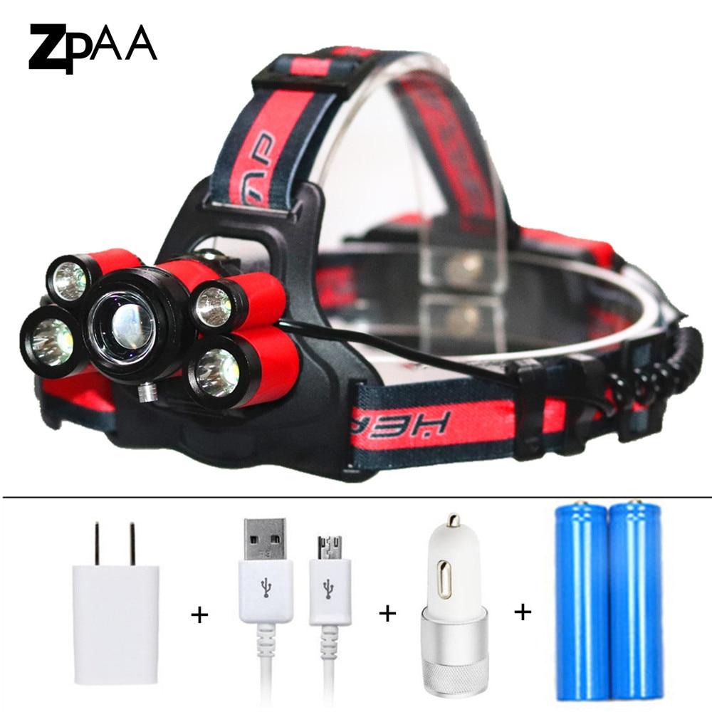 Zoom USB Rechargeable Headlight 15000 Lumen Headlamp 5 LED XM-L T6 /Q5 LED Head Lamp Flashlight Torch Lanterna Frontal Lights fenix hp25r 1000 lumen headlamp rechargeable led flashlight
