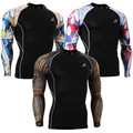 Fashion Man Elastic Fitness Compression Base Layer Long Sleeve Shirts Bodybuilding Skin Tight T-Shirts Quick-Dry Adult Shirt Fun