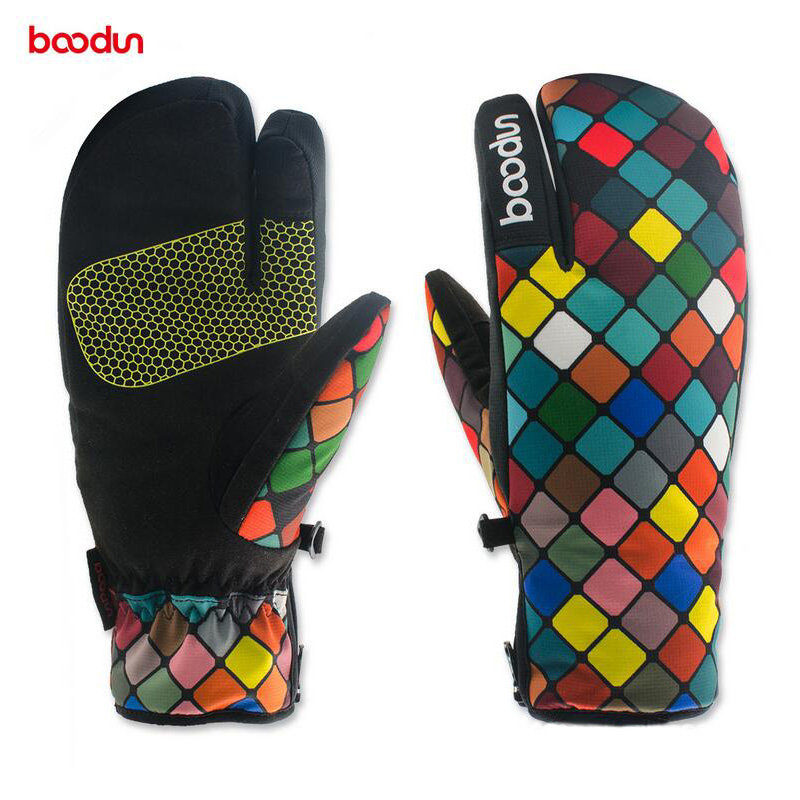 Boodun Waterproof Warm Thicken Women Winter Three Fingers Ski Gloves Snowboard Snowmobile Cycling Outdoor Sports Gloves