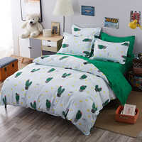 6 green Cactus Bedding set Cotton bed linen+duvet cover+pillow case size Colorfast bedclothes- jogo de cama15