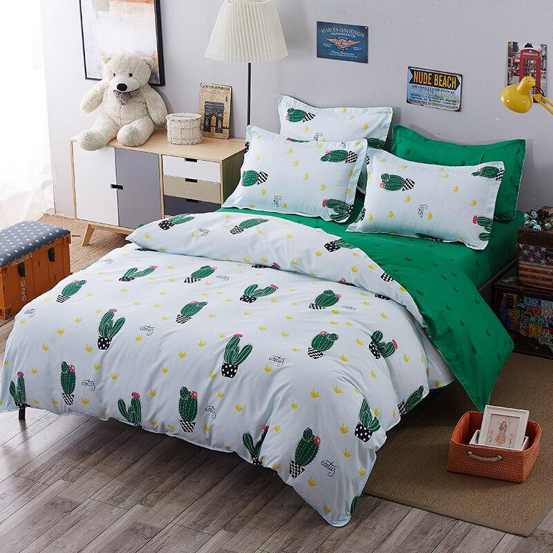 6 vert Cactus ensemble de Literie linge de lit En Coton + housse de couette + taie d'oreiller taille Teint draps-jogo de cama15