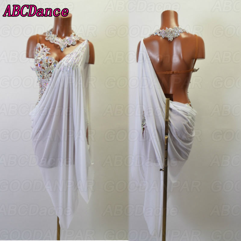 latin dance dress women Sexy Sling latin dance dress white backless ballroom dance dress tango Rumba Cha Cha dress
