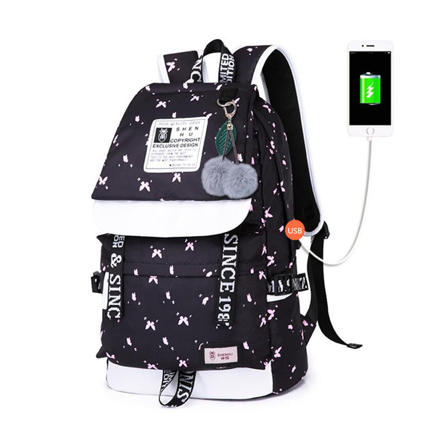 FengDong school bags for teenage girls cute plush ball kids school backpack usb bag pack women laptop computer bag 14 schoolbag