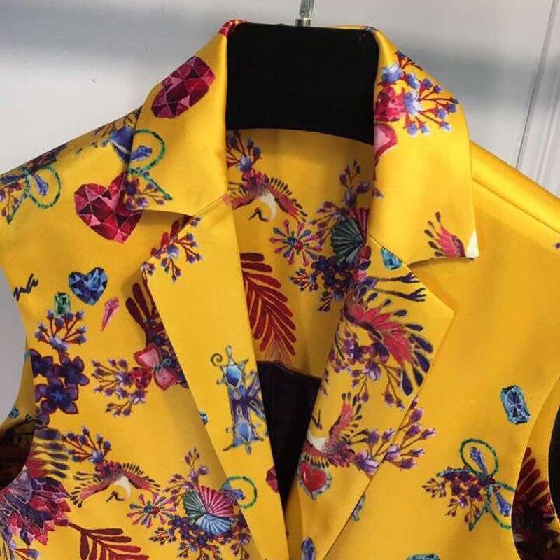 Le De 2019 Mode D'été Manches Femmes Dames Vers Impression Nouvelles Élégant Sans Bas Outwear Tournent Veste Jaune ynmwO0P8vN