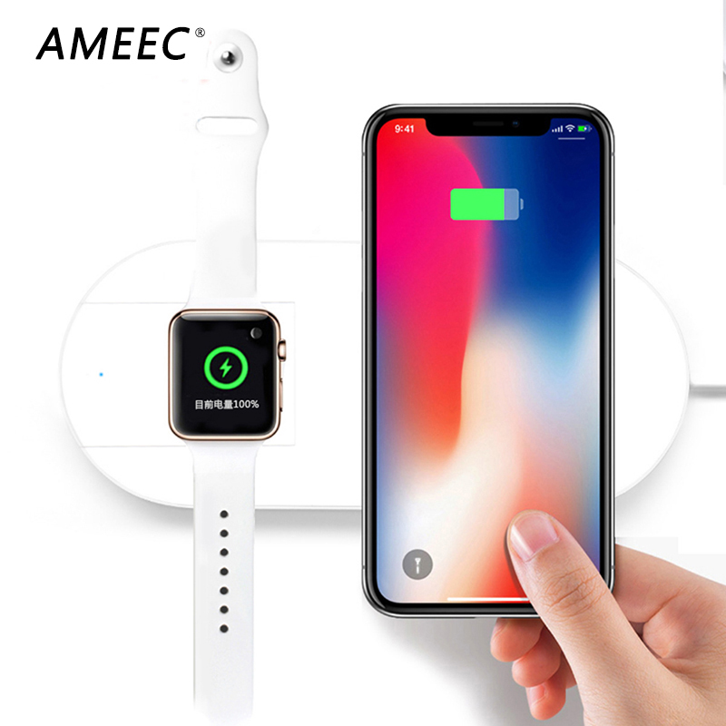 7.5W Wireless Charger Fast Charging For Apple Watch 1 2 3 for Iphone X 8 plus 2 In 1 Fast Wireless usb Pad charger for Samsung for vw teramont 2017 2018 car mount qi wireless charger fast wireless charging accessories for iphone x 8 plus for samsung s7
