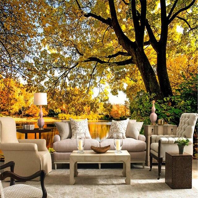 Beibehang Individuelle Fototapeten Aufkleber 3D Atmosphäre Nackt Augen  Herbst Bäume Wohnzimmer TV Hintergrund Wand Papel De