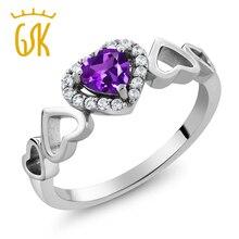 Gemstoneking 0.56 ct anillo de amatista natural de la forma del corazón púrpura Febrero birthstone esterlina del sólido 925 de plata del corazón del amor