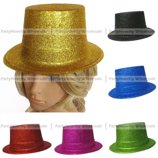 GLITTER TOP HAT Bulk Fancy Party Plastic Hat Tall Cap Fun Dress Up  Centerpiece mix color 5b9a6663f3e