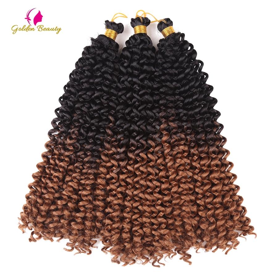 Belleza de oro 14 pulgadas rizado extensiones de pelo crochet ...