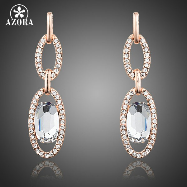 AZORA Fashion Jewelry Rose Gold Color Clear Stellux Austrian Crystal Two Circle Connected Drop Earrings for Women TE0210