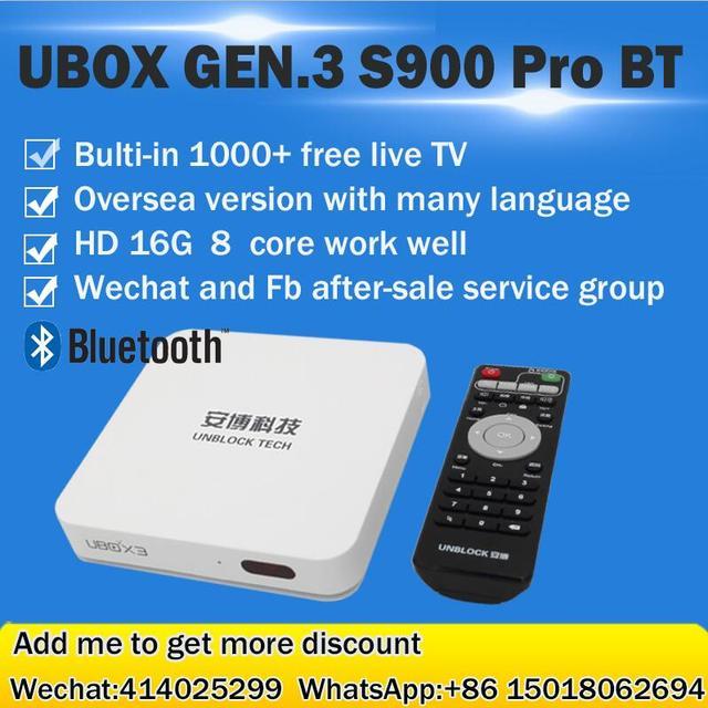 UBOX 3 HDMI TV Box S900 Pro III Gen.3 Pro Bluetooth de Ultramar versión Android 5.1 16g 8 núcleos 1200 + Canales En Vivo Sin Necesidad Alguna cuota