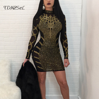 2018 sexy women shining dress diamond embellished rhinestone long sleeve high quality celebrity party night club wear slim tenu