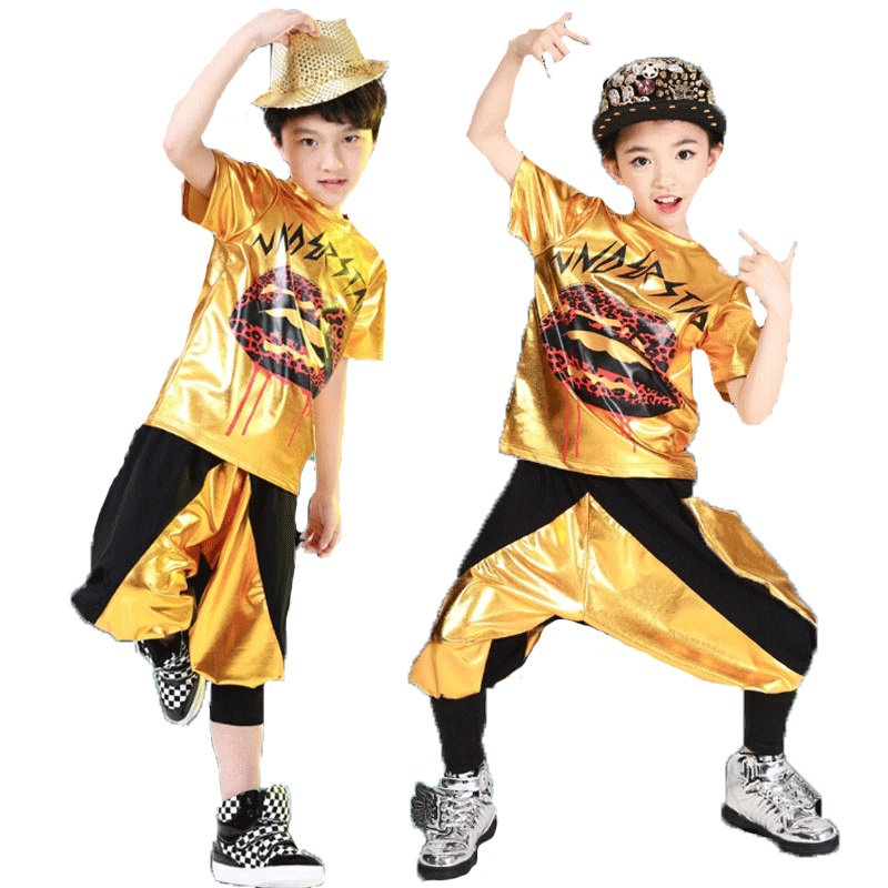 Children's jazz dance costume modern dance clothing hip-hop performance clothing men and women hip-hop sequined clothing
