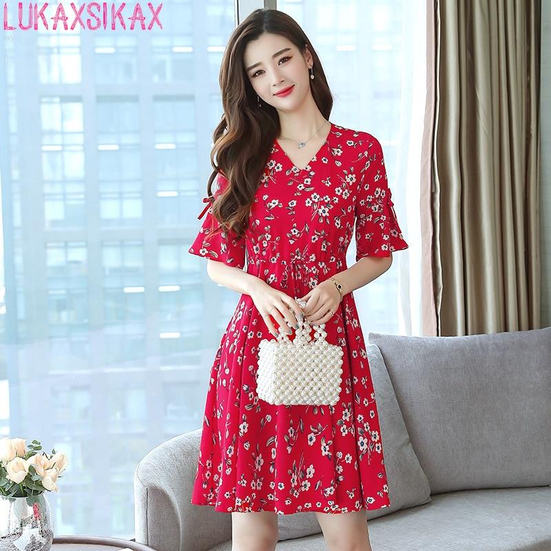 ab1ec4bf8 LUKAXSIKAX moda 2018 vestido de verano para mujer talla grande ropa coreana  dulce altavoz manga rojo ...