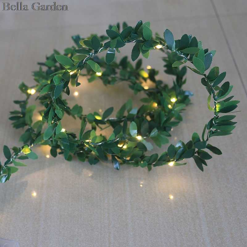 Tiny Christmas Lights.Tiny Green Leaves Garland Fairy Battery Copper Wire Led Lights For Wedding Party Christmas Home Tableware Garlands Decorations