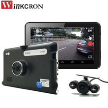 7 inch Android GPS Navigation Car DVR Camera Car Rearview camera wifi 16GB Dual lens AV-IN With Parking Camera Truck vehicle