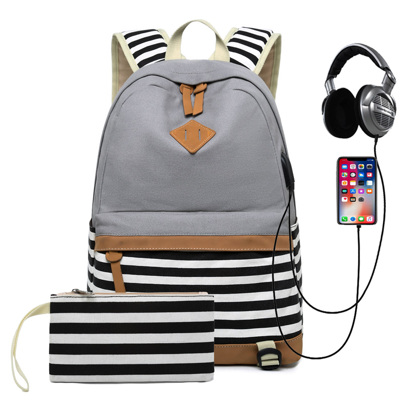 Large Capacity Canvas Women Backpack for Teenage Girls/Boys Striped Casual School Backpack USB with Headphone Rucksack Mochila