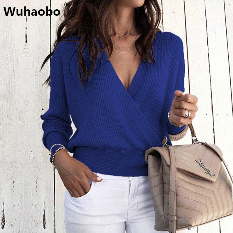 Wuhaobo V Neck Sweaters Women 2019 Autumn Long Sleeve Tops Female Casual Jumper Winter Streetwear Sexy Sweater