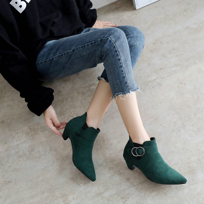 d3eaaceec Sianie Tianie med stange heels woman shoes pointed toe green olive woman  ankle boots winter boots with buckle plus size 45 46-in Ankle Boots from  Shoes on ...