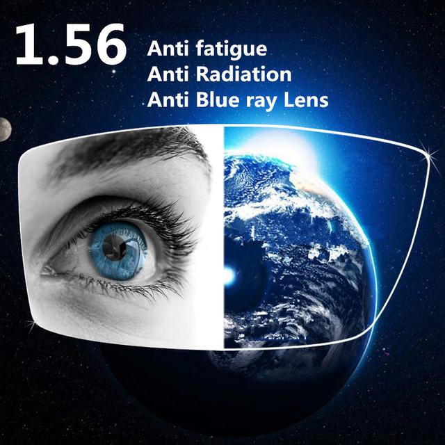 1.56 Índice de Índice UV 400 Anti Blue Ray Revestimento Verde Lentes de Resina Anti Radiação Anti Fadiga Lente para Os Olhos