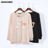 2017 Spring Female Sweatshirt Long Sleeve Deer Pearl Crystal Printing Solid Color Cotton Women Plus Size