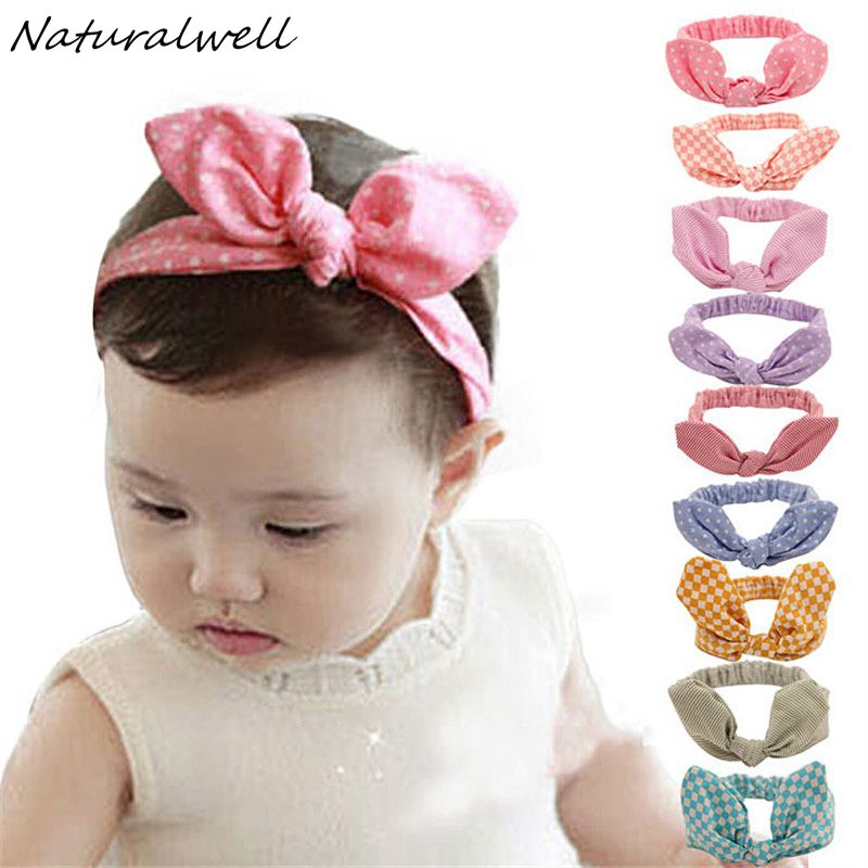 Naturalwell Baby Hair Accessories Infant Baby Kids Girls Headband Lovely Dots Plaid Rabbit Ear Hairband Knot Headwear 1pc HB419 13 colors lovely girls print floral rabbit ears hairband turban knot headband hair band accessories