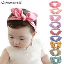 Naturalwell Baby Hair Accessories Infant Baby Kids Girls Headband Lovely Dots Plaid Rabbit Ear Hairband Knot Headwear 1pc HB419