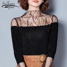 Sexy hollow lace women blouse shirt fashion women blouses 2018 long sleeve  black lace ladies tops e347e11be625