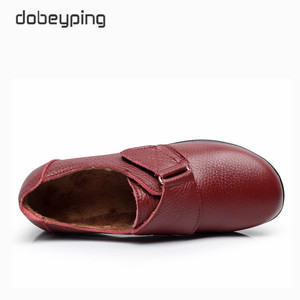 Image 3 - New Arrival Flats Shoes Woman High Quality Genuine Leather Womens Casual Shoes Buckle Mother Walking Footwear Plus Size 35 43