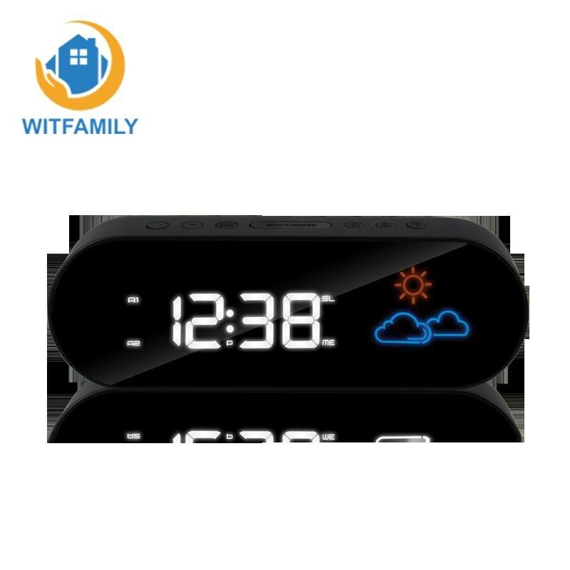 Affichage numérique LCD avec rétroéclairage couleur prévision météo fonction Snooze électronique Table montre horloge FM Radio LED réveil