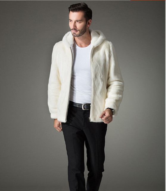 2016 New fur coat mens, Imitation mink coat mens hooded jacket mens mink  fur coat, Pure white fur coat  free shipping