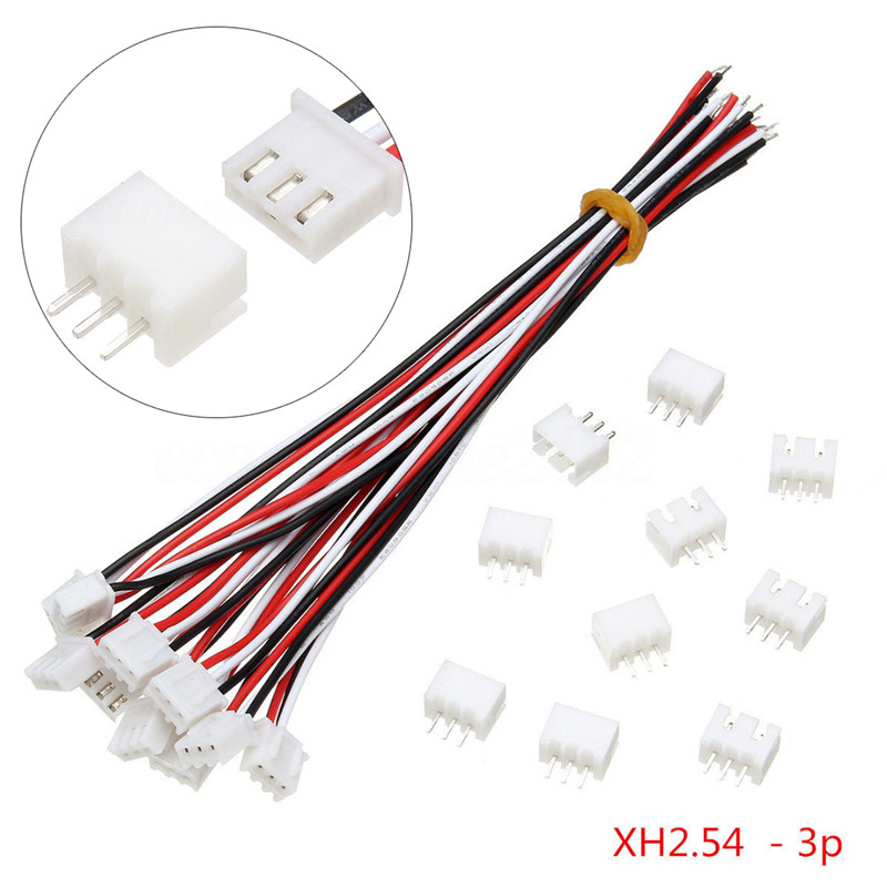 купить Mayitr 10sets Mini Micro JST XH 2.54mm 3-Pin Connector Plug With 24AWG Wire Cable 150mm Length недорого
