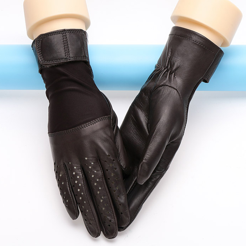 NEW 2019 Genuine Leather Women Gloves Female Spring Autumn Thin Style Breathable Sheepskin Gloves Fashion Patchwork 1008 in Women 39 s Gloves from Apparel Accessories