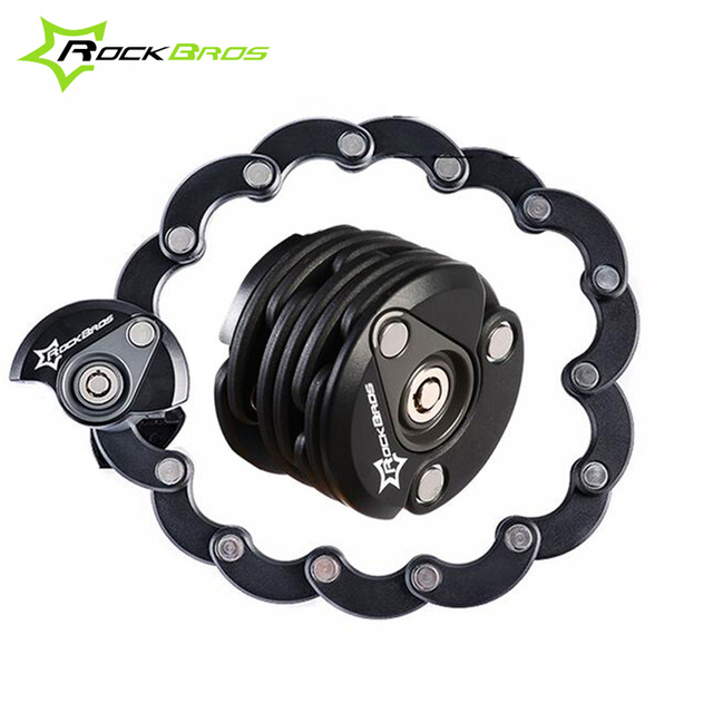 ROCKBROS Hamburger Bike Locks Foldable & Portable Lock for Bicycle Extremely Anti Theft Folding Chain Cycling Bike Bicycle Lock