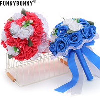 FUNNYBUNNY Rose Waterfalls Design Artificial Flowers Rose Rhinestone Bridal Bouquet for Wedding