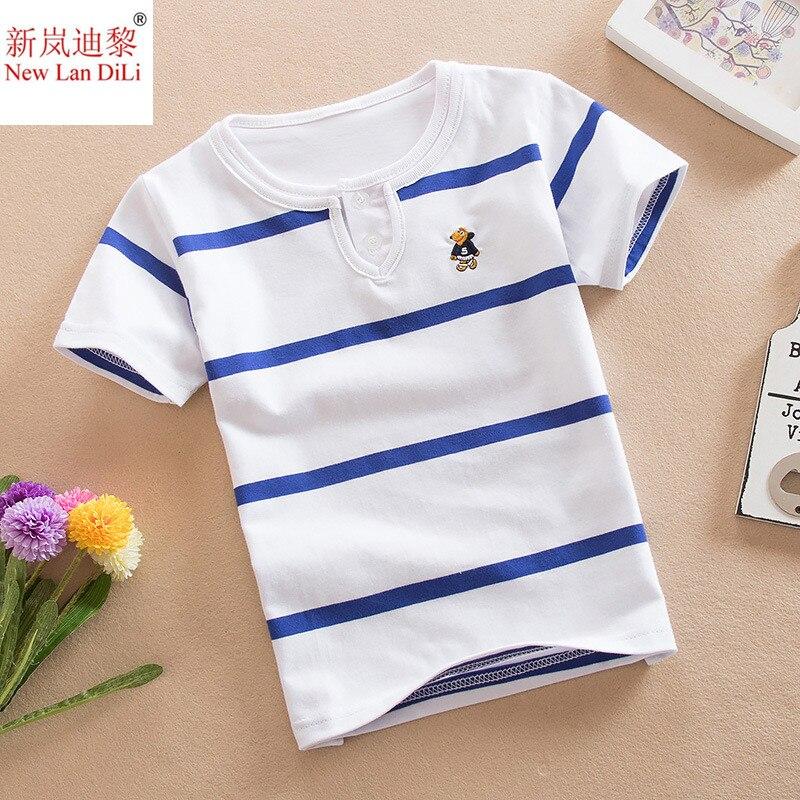 High Quality Baby Boy T-shirt Summer Multicolor Stripe Short Sleeve T-shirt Rainbow Collar Sports Casual Summer Boy T-shirt