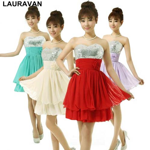 sparkly lavender champagne sequined bridesmaid red dress short sleeveless dresses short chiffon for bridesmaids from china