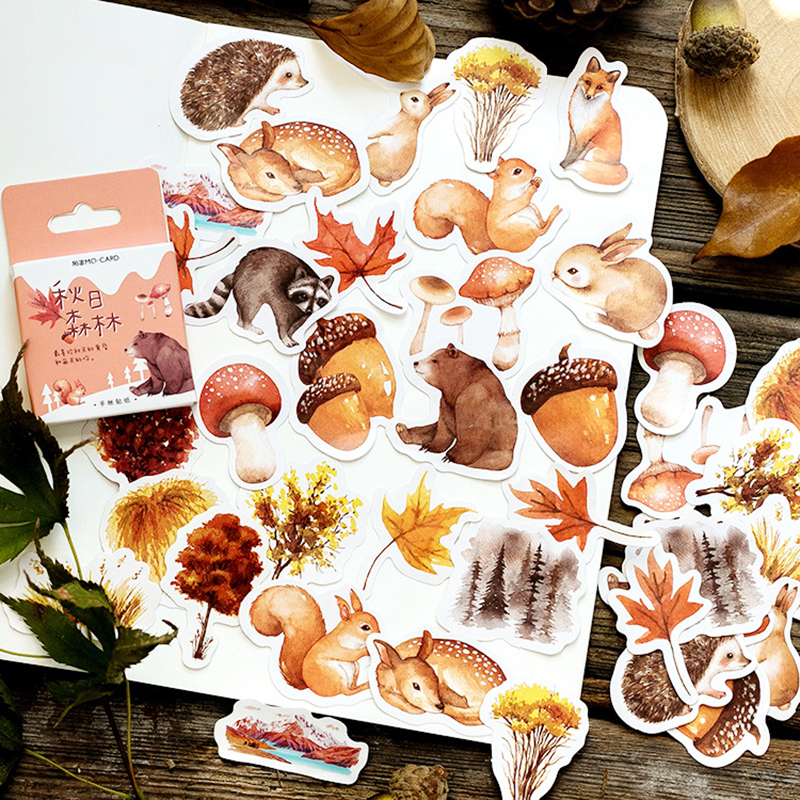 46Pcs/Box Forest Animal/Plant Stickers Scrapbooking Creative DIY Journal Decorative Adhesive Label Kawaii Stationery Supplies