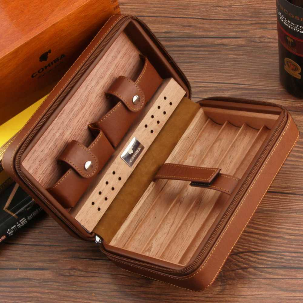 Cohiba Cedar Kayu Cigar Humidor Perjalanan Portable Kulit Cigar Case Cerutu Kotak dengan Lebih Ringan Cutter Humidifier Kotak Tembakau Kotak