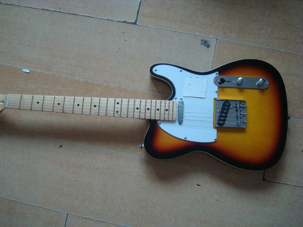 Guitare électrique sunburst finition blanc pickguard érable cou instock prêt à expédier livraison gratuite chrome hardwares rock you