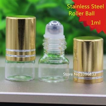 100pcs Empty Glass Roll on Ball Bottle Portable Eye Essential Oil Bottle With Stainless Steel Glass Roller Ball Bottle 1ml 1g