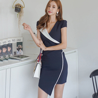 Women Cross Deep V Neck Constrast Color Sexy Fashion Dress 2018 New Arrive Navy Office Lady