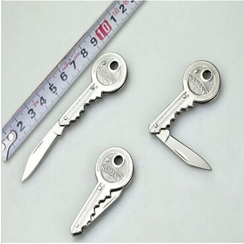 New 1Piece Mini Key Knife Fold Key Pocket Knife Key Chain Knife Peeler Portable Camping Key Ring Knife Tool
